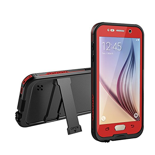 Galaxy S6 Waterproof Case, Dust Proof, Snow Proof, Shock Proof Case with Touched Transparent Screen Protector, Heavy Duty Protective Carrying Cover Case for Samsung Galaxy S6-Red
