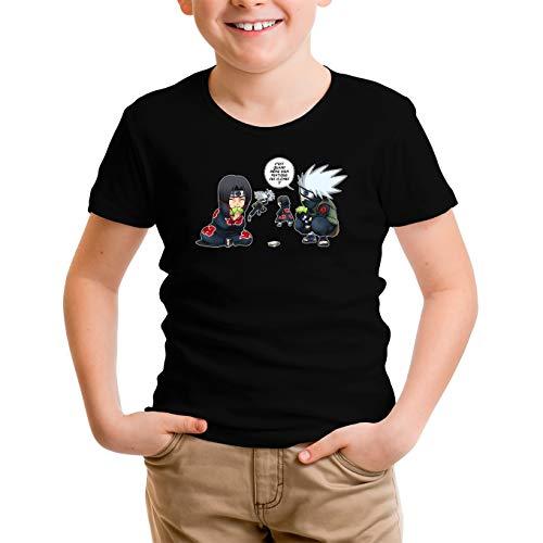 T-Shirt Enfant Garçon Noir Parodie Naruto - Kakashi et Itachi - Ninja Fight (T-Shirt Enfant de qualité Premium de Taille 7-8 Ans - imprimé en France)