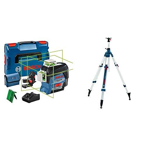 Bosch Professional 12V System Linienlaser GLL 3-80 CG (Universalhalterung BM 1, m. App-Funktion, grüner Laser) & Baustativ BT 300 HD (Arbeitshöhe:122-295 cm, ca. 7,2 kg, Stativ-Gewinde: 5/8 Zoll)