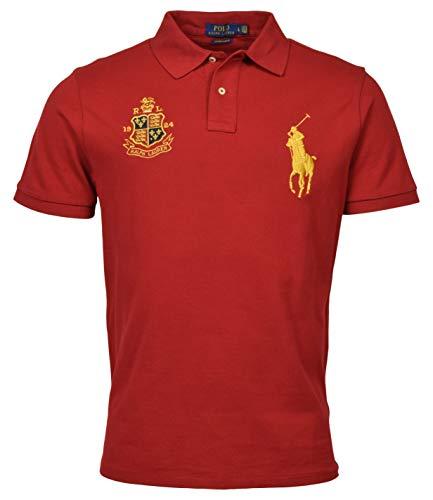 Mens Custom Slim Fit Mesh Short Sleeve Big Pony Polo Shirt (Medium, Red)