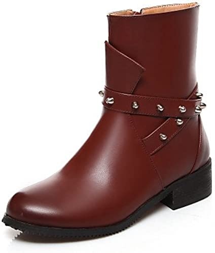 XZZ  Chaussures Femme - Extérieure   Bureau & Travail   Habillé   Décontracté - Noir   Marron   Bordeaux - Talon Bas -Bout Arrondi   Bout
