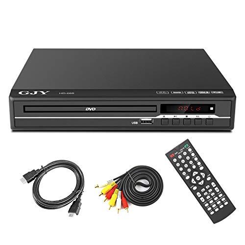 Lettore DVD per TV, supporto 1/2/3/4/5/6 dischi multi-regione, porta USB HDMI e uscita AV (lettore Blu-Ray non DVD) Nero