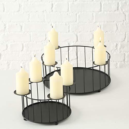 Tamia-Home Adventskranz Kerzenleuchter Kerzenhalter Kerzenständer mit Aufbewahrungskorb Knox Metall schwarz H16cm D32cm