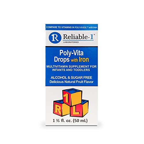 Reliable-1 Laboratories Multivitamin Supplement Drops with Iron for Infants & Toddlers (50 ML)… (1 Pack)