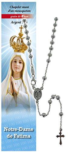 Rosario Virgen de Fátima de plata 925 con cuentas de Ø 4 mm y oración en francés