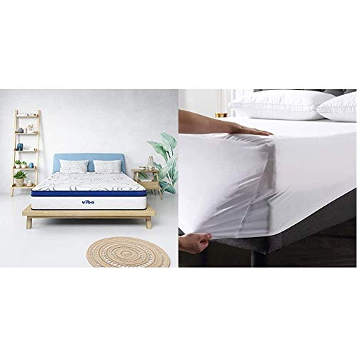 Vibe Quilted Gel Memory Foam and Innerspring Hybrid Pillow Top 12-Inch Mattress, Full & Premium Fitted Washable Terry Cloth Waterproof Mattress Protector, Full