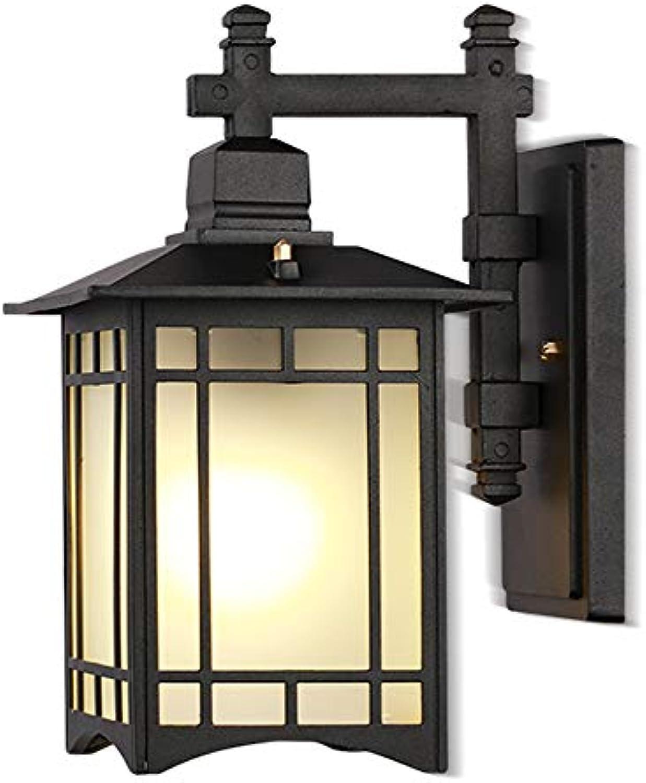 Retro LED Auenwandleuchte Schwarz Aluminiumguss Und Glas Schatten Gartenlampe IP44 Eingangsbeleuchtung Hoflampe Auenlampe Wandlichte Abmessungen (B X H X T)  13 X 34 X 24 Cm