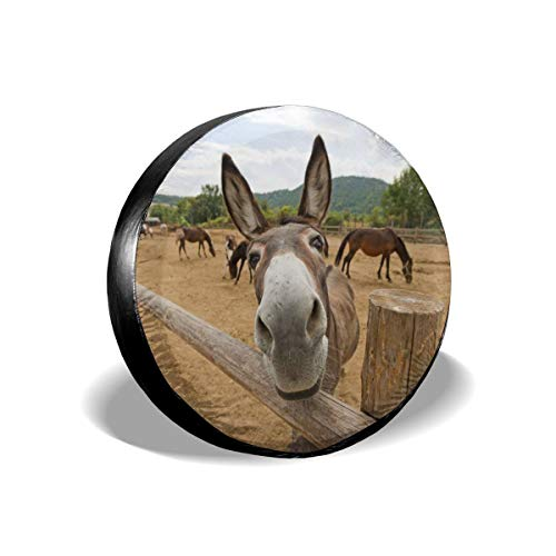 Foruidea Funny Donkey Spare Tire Cover Waterproof Dust-Proof UV Sun Wheel Tire Cover Fit for Jeep,Trailer, RV, SUV and Many Vehicle (14, 15, 16, 17 Inch)