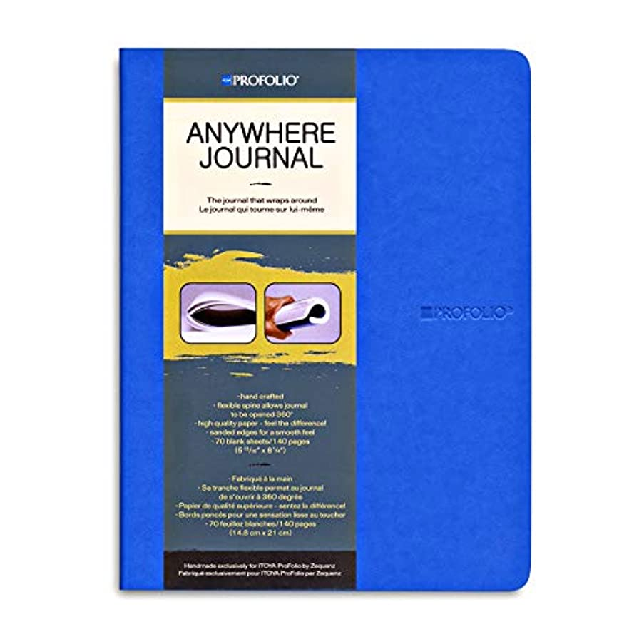 Itoya Anywhere Journal with Flexible Spine, 70 Blank Sheets/140 Pages, 5.75 X 8.25 inches, Blue (AJ-MD-BU)