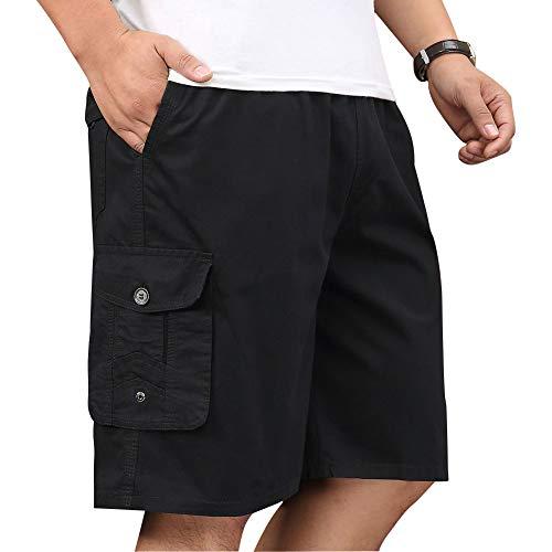 XinnanDe Mens Cotton Loose Fit Full Elastic Waist Twill Cargo Short with Drawstring Black 44