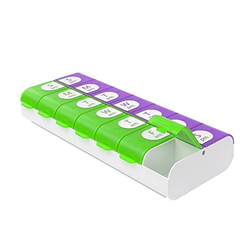 EZY DOSE Easy Fill (7-Day) Pill, Medicine, Vitamin Organizer Box - Weekly, 2 Times a Day, AM PM - Large Compartments - Colored Lids, Assorted Colors