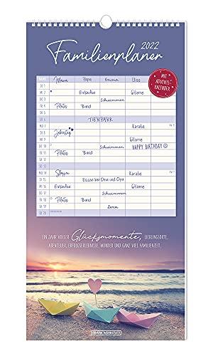 Familienplaner - Kalender 2022 - Grafik Werkstatt - Monatsplaner mit 5 Spalten zum Eintragen - 24 cm x 48 cm - Küchenkalender