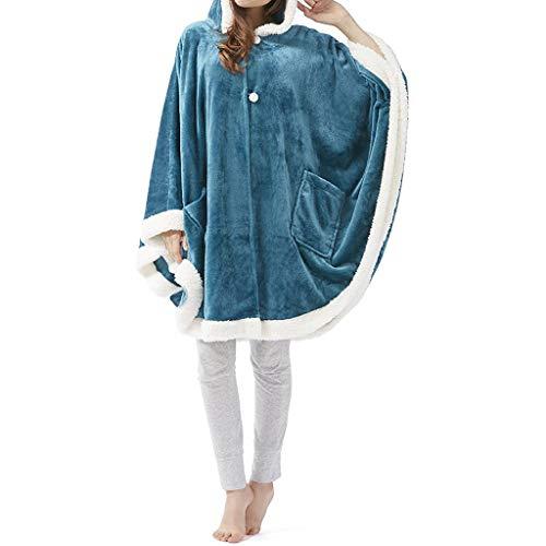 IvyH Angel Wrap Kapuzendecke,Ultra Soft Wearable Poncho Decke Poncho Decke Wrap mit weichem Sherpa-Fleece - Tolles Geschenk für Frauen Gr. One size, blau