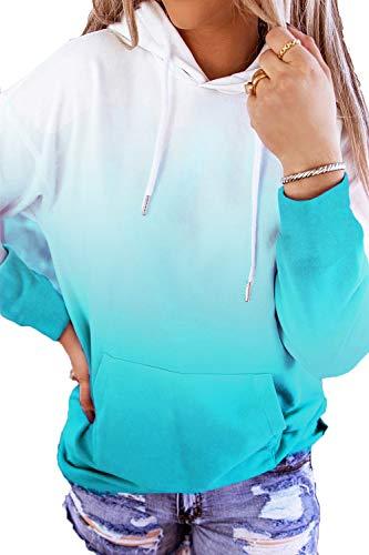 HVEPUO Tops Teenager Mädchen Batik Hoodie Streetwear Für Pullover Damen Farbverlauf Sweatshirt Langarmshirt Ombre Cute Klamotten Tik Tok Pulli Frauen Hippie Kapuzenpullover Blau M
