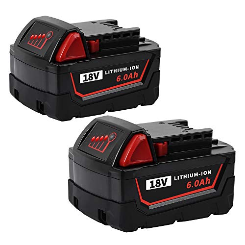 2 Pack DSANKE 6.0Ah M18 XC Battery for Milwaukee M18 Battery 18V Lithium Replacement for Milwaukee 48-11-1840, 48-11-1815, 48-11-1820, 48-11-1850 Lithium-ion Milwaukee 18volt Battery