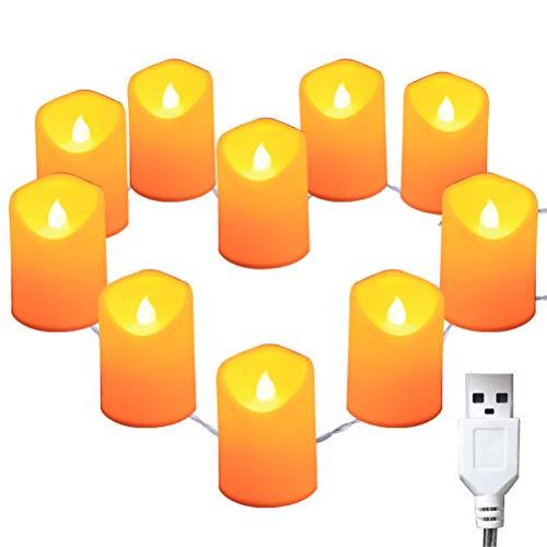 USB Romantische Kaars Lamp, Kan LED-Verjaardagskaars Licht Snaar Gesimuleerde Kaarslicht Configuration Staart Plug Meerdere Strings [2 Pack] Verbinden,Colorful