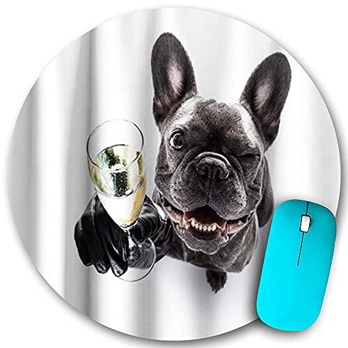 Rundes Mauspad Rutschfester Gummi, lustiger süßer Mops Rustikaler Hund Gentleman Animal Blink Champagner, wasserdichte, haltbare Mausmatte Büro-Desktops Persönlichkeit 7,9 'x 7,9'