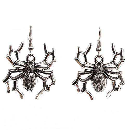 EJY Halloween Vintage Skeleton Punk Earring Men Women Accessories(Spider silver)