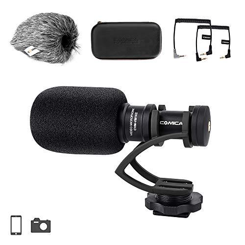 Comica CVM-VM10II Full Metal Compact On Camera Cardioid Directional Mini Shotgun Video Microphone for Smartphone iPhone,Huawei,DJI Osmo,SonyA9/A7RII/A7RSII,GH4/ GH5, and DSLR Camera(Black)