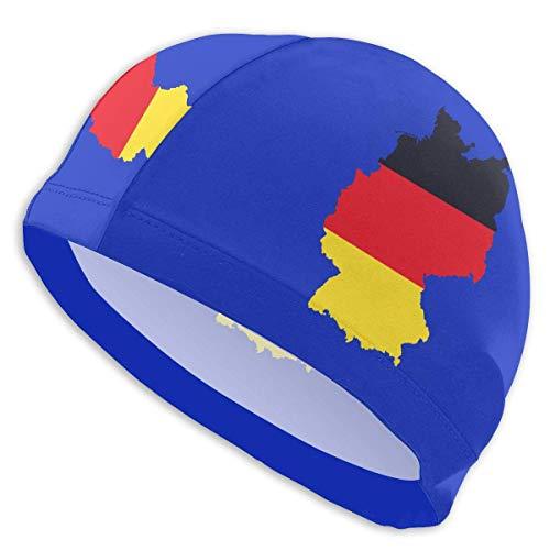 HFHY Deutsche Flagge auf detaillierter Deutschlandkarte Adult Summer Swimming Pool Swimming Cap für Männer Frauen Unisex