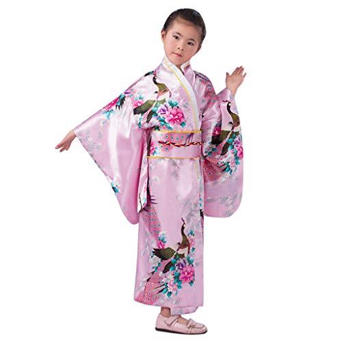 Vestido Niñas Kimono Japones Niños Vestidos para Niña Niños Yukata Tradicional Ropa Niña Satén Soft Flor Peacock Estampado Albornoces Pijamas para los Niños Fotografia Cosplay (Rosa, 7-8 años)