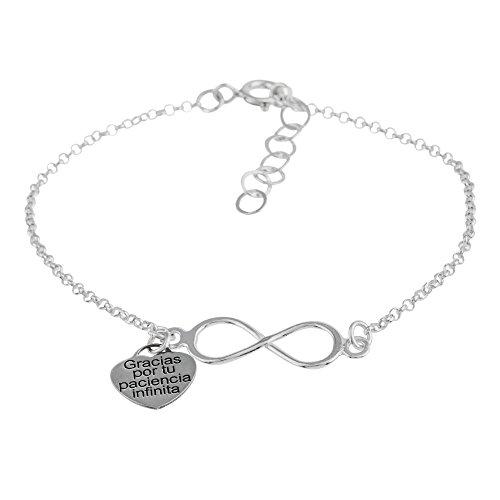 Córdoba Jewels | Pulsera en Plata de Ley 925 con diseño Gracias por tu Paciencia Infinita