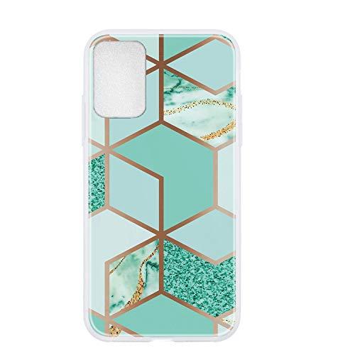 Everainy Funda Compatible para Samsung Galaxy A32 5G Silicona Bumper Ultrafina Mármol Dibujos Motivo Tapa Goma Case Antigolpes Resistente Protección Cover (Verde)