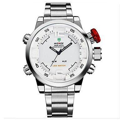 XKC-watches Herrenuhren, Weide® Luxusmarke Multifunktions-LED Dual Zeitzone Uhr Mode Militär Sport Armbanduhr (Farbe : Weiß-Silber, Großauswahl : Einheitsgröße)