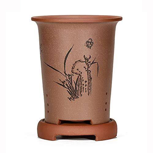 CHOUE Rojo Gris Maceta Pared Ceramica con Orificio de Drenaje Hecho a Mano Maceteros de Ceramica Exterior para Plantas, Maceta Grande Redonda para Orquídeas Suculentas de Interior Ø 17 cm x H 24 cm