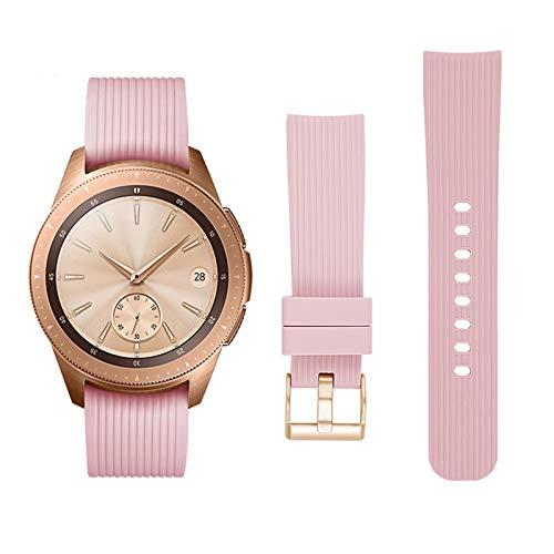 Banda De Reloj De Silicona A Rayas De 20 Mm Para Samsung Galaxy Watch Active 42mm Gear S2 Hebilla Reemplazo Pulsera Correa De Banda 10688 (Band Color : Pink, Band Width : S size)