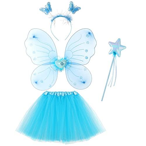 KEESIN - Costume da principessa per bambini, con ali di farfalla, gonna in tulle, bacchetta magica e fascia per capelli, set per bambini da 3 a 7 anni, colore: Blu
