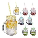 Relaxdays Set de 8 vasos con tapa, pajita y asa, Cristalería, Multi-color