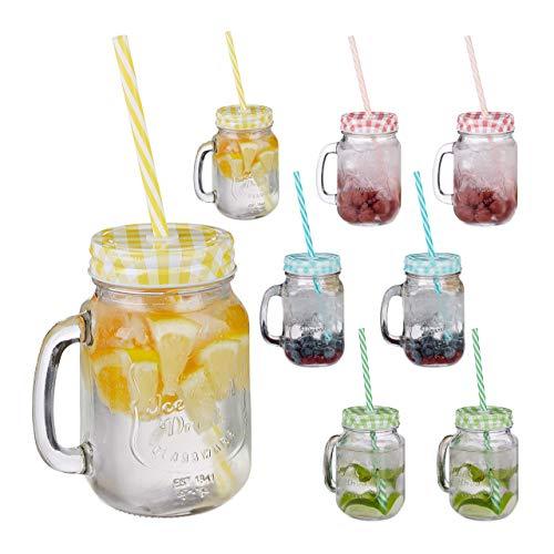 Relaxdays, bunt Trinkgläser mit Strohhalm, 8er Set, 400 ml, Gastro, Deckelgläser mit Henkel, Ice Cold Drink Gläserset, Glas, Standard