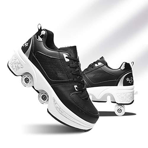 HealHeatersⓇ Mädchen Rollschuhe Einstellbare Skateboard Kinderschuhe Unsichtbare Sportschuhe Verstecktes Inline-Skate Schuhe Mit Rollen,Black+White,36