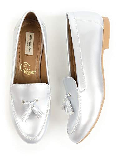 Will's Vegan Shoes - Mocasines con borlas para mujer, talla 38 EU / 7 US plata