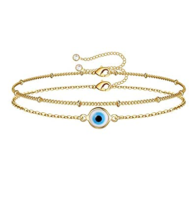 Dainty Layered Evil Eye Bracelets for Women, 14K Gold Filled Adjustable Layering Bead Chain Bracelet Handmade Gold Layered Round Evil Eye Bracelets for Women Jewelry(Round Evil Eye & Bead Chain)