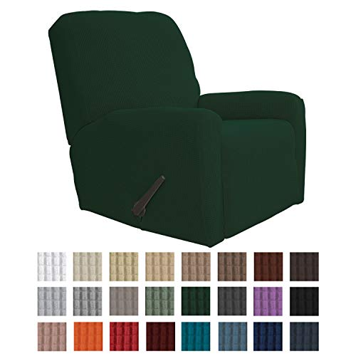 Easy-Going Recliner Stretch Sofa Slipcover Sofa Cover 4-Pieces Furniture Protector Couch Soft with Elastic Bottom Kids,Polyester Spandex Jacquard Fabric Small Checks(Recliner,Dark Green)