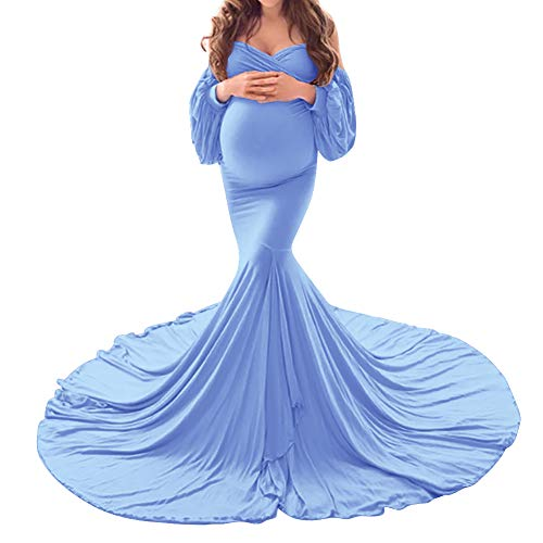 Women Off Shoulder Strapless Long Puff Sleeve Maternity Dress V Neck Elegant Slim Fit Half Circle Gown Split Tiered Mermaid Pregnancy Maxi Photography Dress for Baby Shower Photo Shoot 02#Blue XL