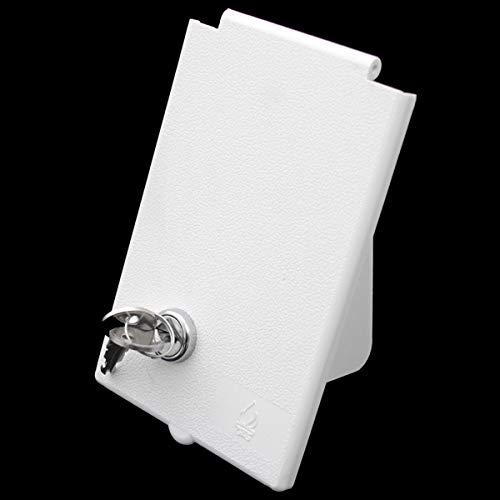 Tapa de repuesto MPK Gas Enchufe de gas exterior Tapa de suministro Tapa de suministro para autocaravana caravana caravana con candado blanco rectangular