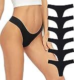 GNEPH Low Rise Seamless Thong Women Underwear Stretch Invisible Bikini Thongs Panties Multipack (Black, XL)