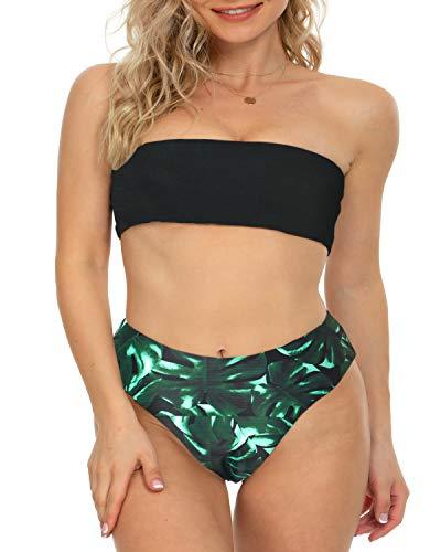 DUOSTICK Bikini Cover Ups for Women Two Piece Bandeau Swimsuit - L, Black Flower