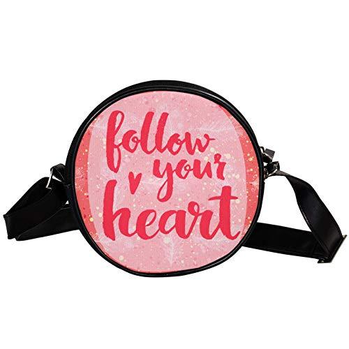 Bandolera redonda pequeña bolsa de mano de moda para mujer, bolsa de mensajero de lona, bolsa de cintura, accesorios para mujer, siga su corazón letra