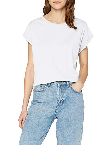 Urban Classics Ladies Extended Shoulder tee Camiseta, Blanco, L para Mujer