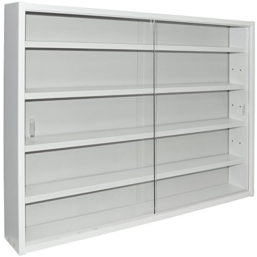 WATSONS REVEAL - 4 Shelf Glass Wall Collectors Display Cabinet - White