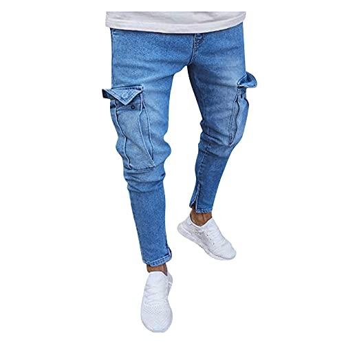 DeaAmyGline Jeanshose Herren Hosen Jeans mit Löcher Tasche Zip Slim Fit Freizeithose Sporthose Hose Männer Sommer Cargohose Jogginghose