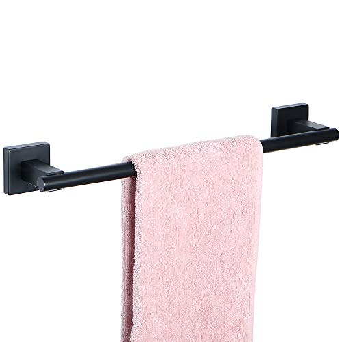 Sayayo Barra de riel de toalla de baño montada en la pared, 40 cm / 16 pulgadas, Acabado en negro mate de acero inoxidable SUS-304, EGYT4068-B