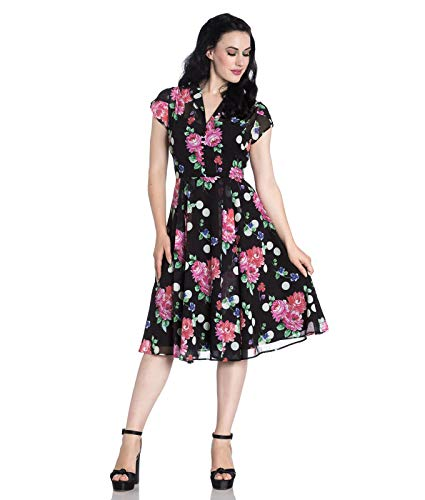 Hell Bunny Bloomsbury pois ronds fleur années 40 STYLE ROBE