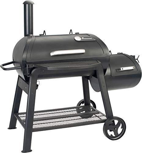 LANDMANN Smoker Vinson 400 | Klassischer 18 Zoll-Smoker mit 4-in-1 Funktionen | Abgerundetes Design für optimale Luftzirkulation | Massive emaillierte Stahlroste & mit Deckelthermometer [Schwarz]