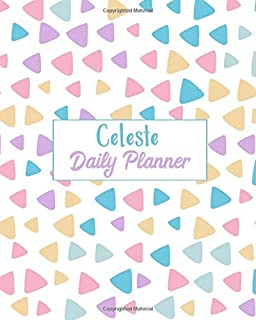 Celeste Daily Planner: 100 Sheet 8x10 inches for Diary, Planners, Notes, for Girls, Woman, Children and Initial name on Matte Pastel Design Cover , Celeste Daily Planner