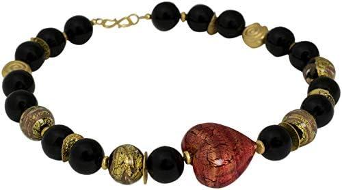 Collar de cristal de Murano de ónice negro, collar de Akulina de diseño, joya de oro chapado en oro, piedras preciosas hechas a mano, cadena de diseño de corazón